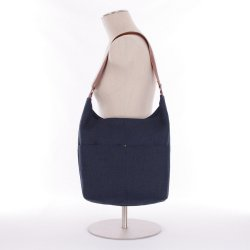 ID Classic Linen Hobo Bag in Navy Blue with Magnetic Closure