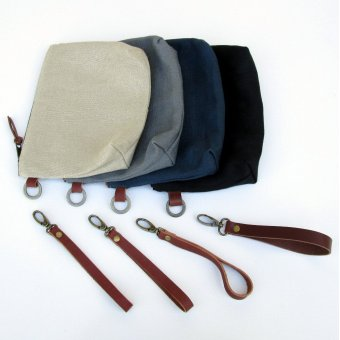 ID Linen Clutches with Swivel-Mounted Detachable Wrist Straps