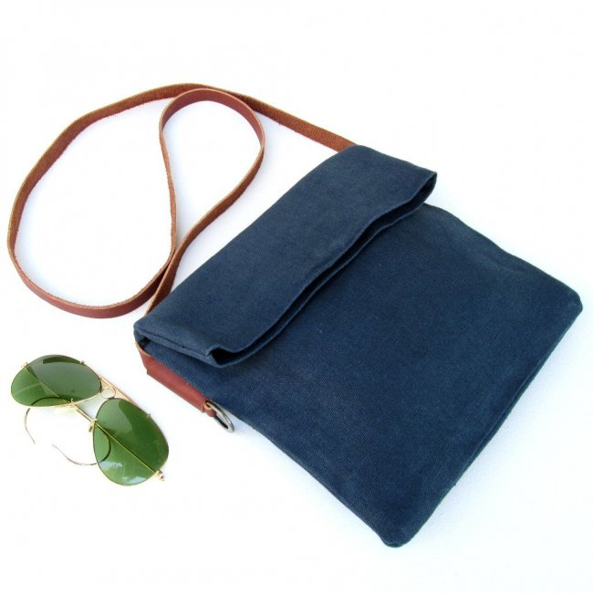 ID Linen Crossbody Foldover Handbags