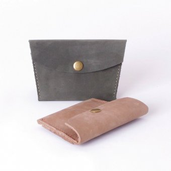 ID Horween Nubuck Leather Coin and Card Pouch