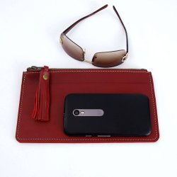 ID Clutch in Cardinal Red Horween Latigo Leather