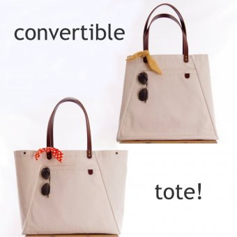 ID Convertible Canvas Tote in Cream