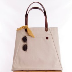 ID French Market Tote in Cream Canvas - Front View Closed