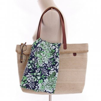 ID Clementine Jute Tote Bag with Leather Handles