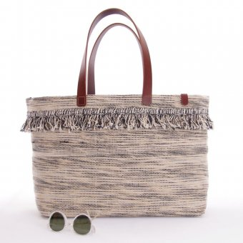 ID Sonari Jute Tote Bag with Leather Handles