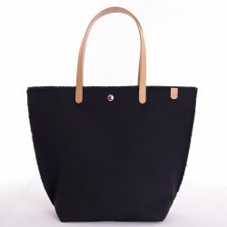 Havana Fringed Black Canvas Tote